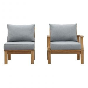 Teak Chair set in Gray