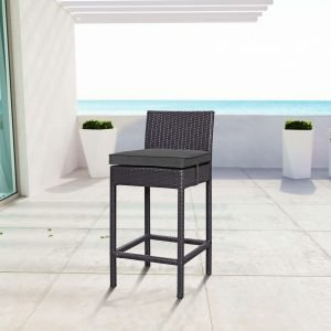 Outdoor Patio Fabric Bar Stool in Espresso Charcoal EEI-1006