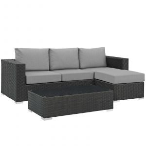 3 Piece Outdoor Patio Sunbrella® Sectional Set in Canvas Gray EEI-1889