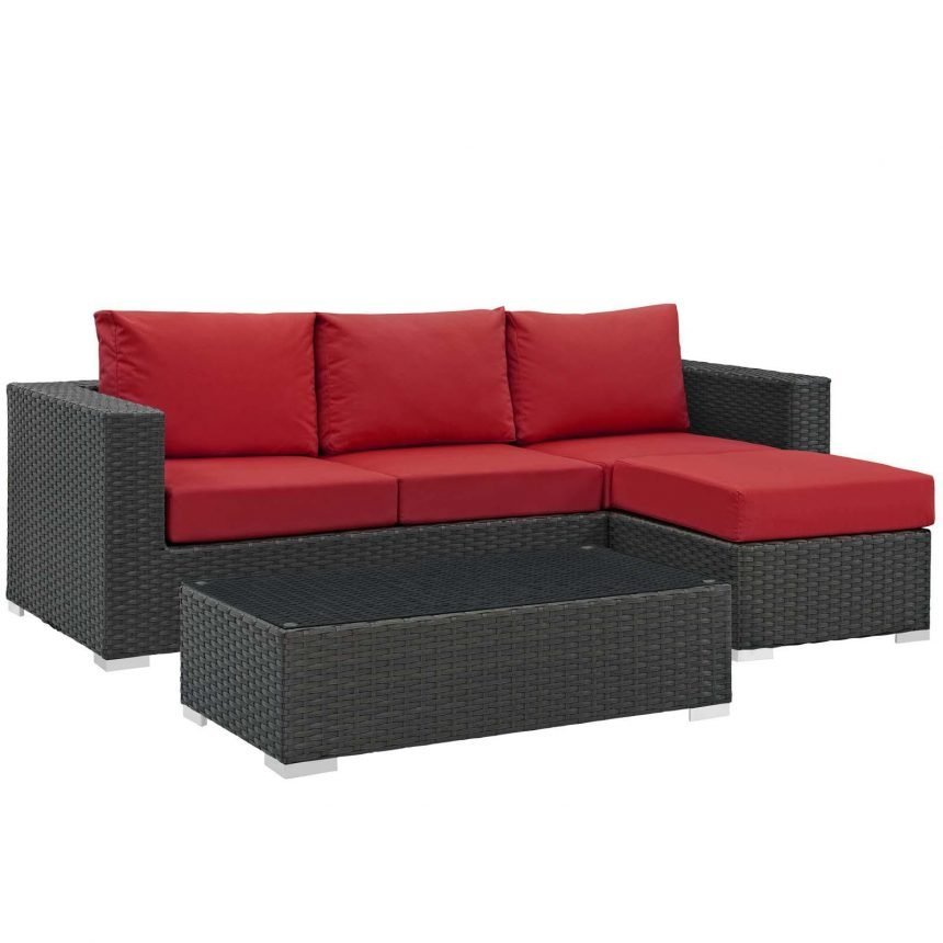 3 Piece Outdoor Patio Sunbrella® Sectional Set in Canvas Red EEI-1889