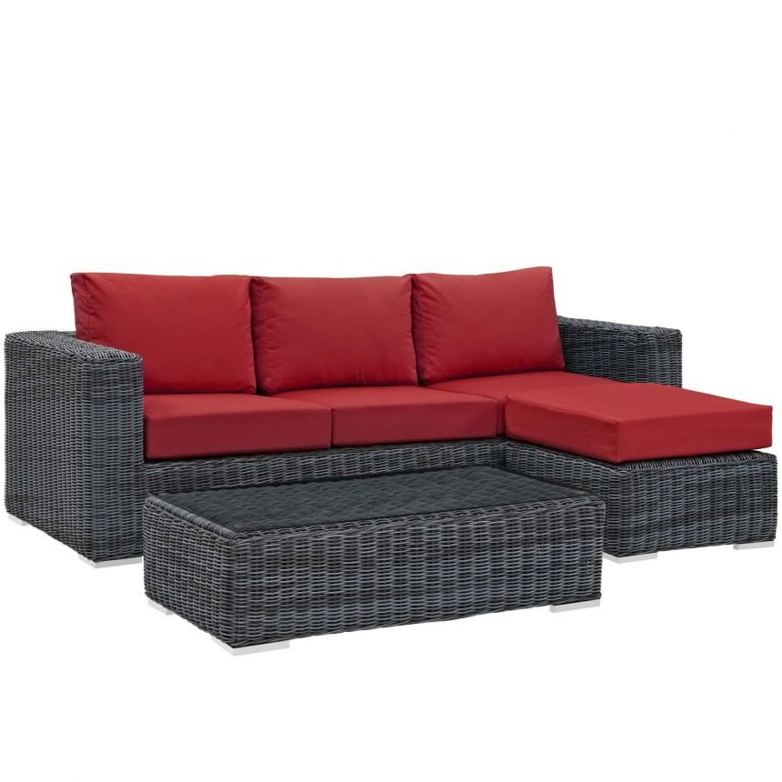 3 Piece Outdoor Patio Sunbrella® Sectional Set in Canvas Red EEI-1903