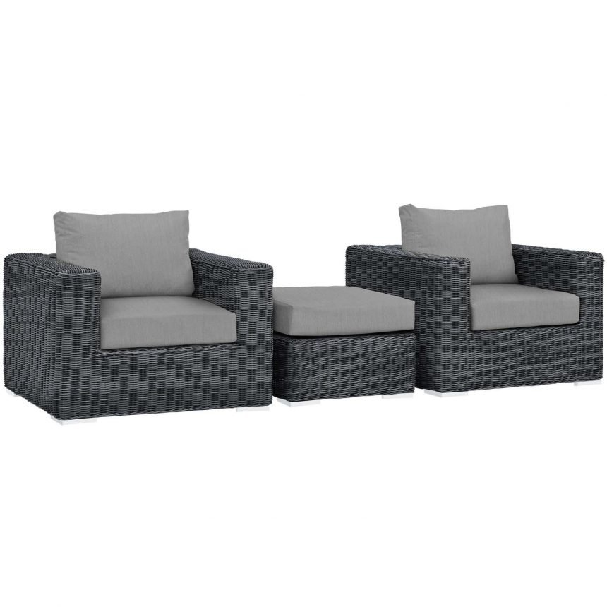 3 Piece Outdoor Patio Sunbrella® Sectional Set in Canvas Gray EEI-1905