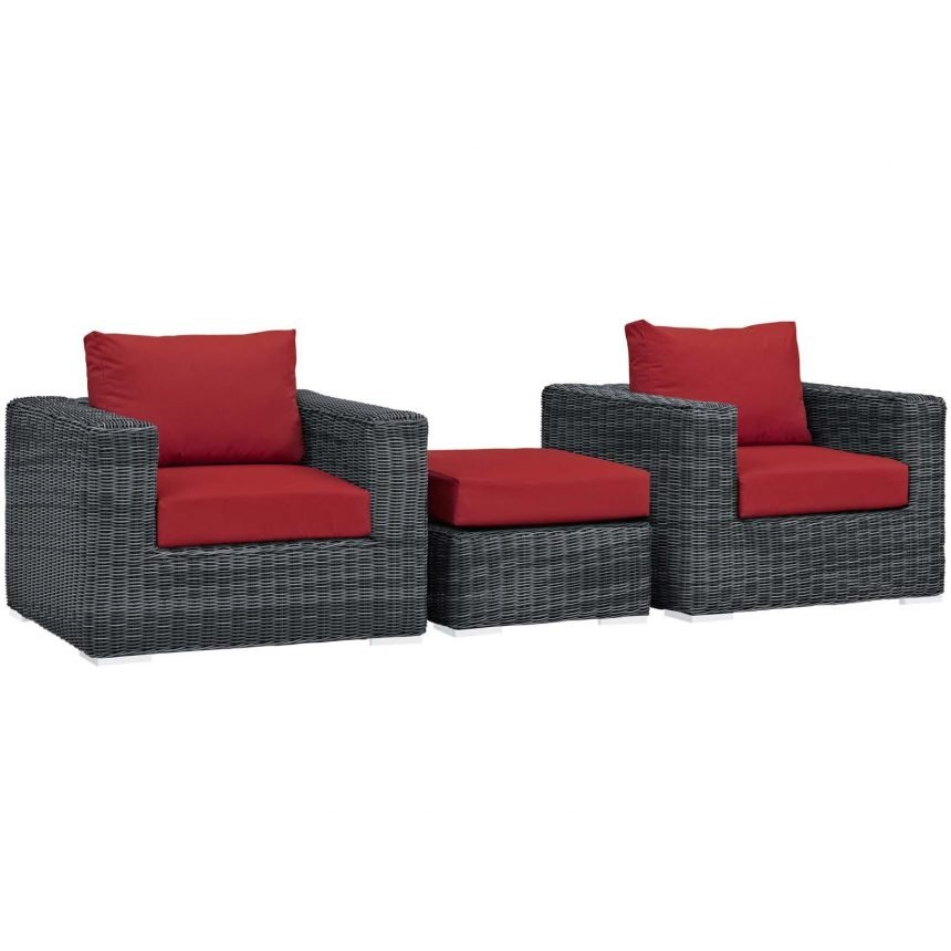 3 Piece Outdoor Patio Sunbrella® Sectional Set in Canvas Red EEI-1905