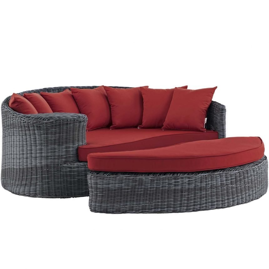 Outdoor Patio Sunbrella® Daybed in Canvas Red EEI-1993