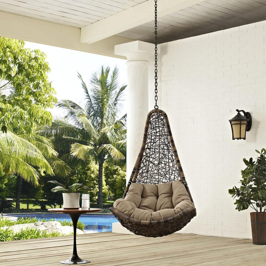 Outdoor Patio Swing Chair Without Stand in Black Mocha EEI-2657