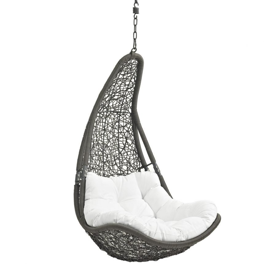 Outdoor Patio Swing Chair Without Stand in Gray White EEI-2657