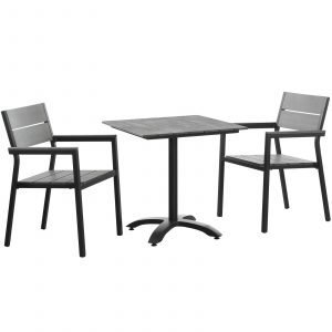 3 Piece Outdoor Patio Dining Set in Brown Gray EEI-1759
