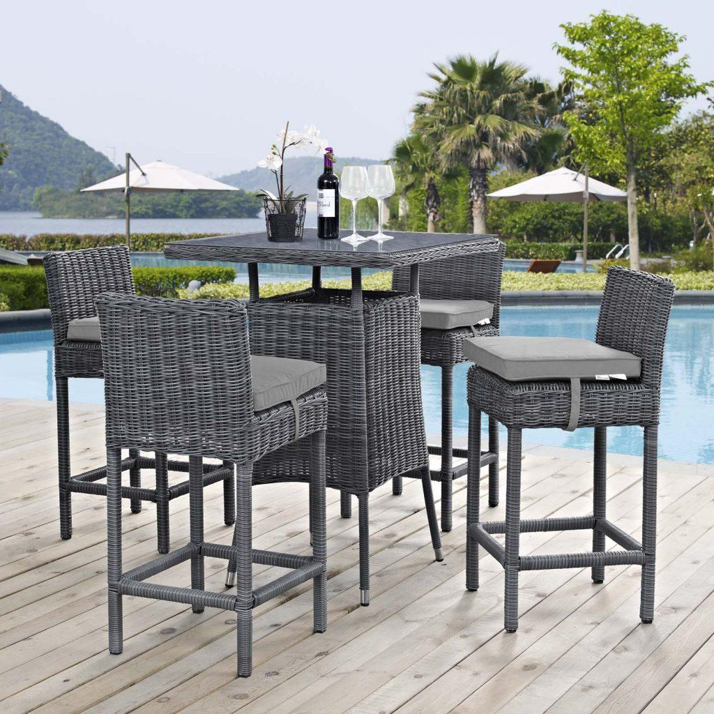 5 Piece Outdoor Patio Sunbrella® Pub Set with Canvas Gray EEI-1971