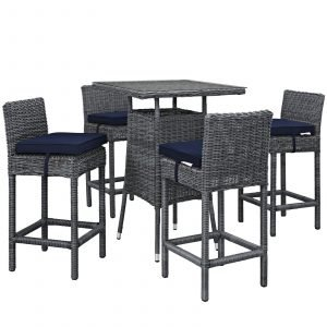 5 Piece Outdoor Patio Sunbrella® Pub Set with Canvas Navy EEI-1971