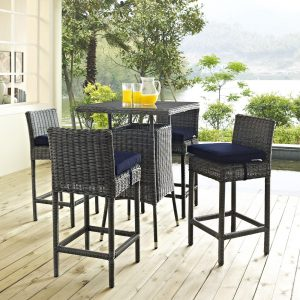 5 Piece Outdoor Patio Sunbrella® Pub Set in Canvas Navy EEI-1971