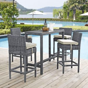 5 Piece Outdoor Patio Sunbrella® Pub Set in Antique Canvas Beige EEI-1972