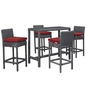 5 Piece Outdoor Patio Sunbrella® Pub Set in Canvas Red EEI-1972