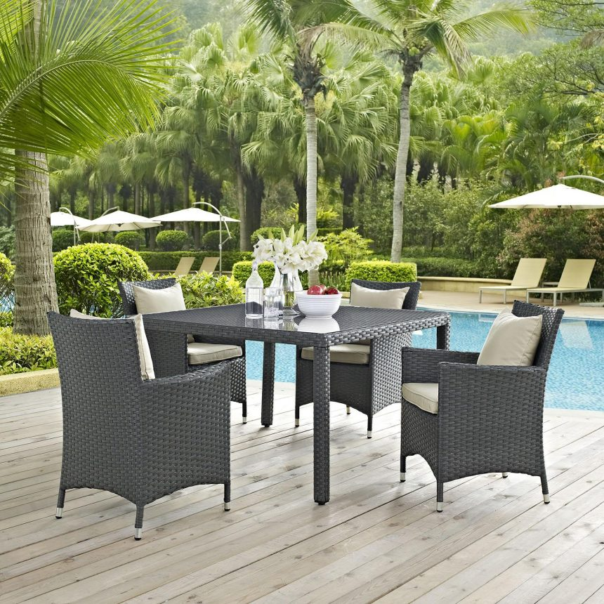 4 Piece Outdoor Patio Sunbrella® Dining Chair Set EEI-2243
