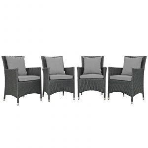 4 Piece Outdoor Patio Sunbrella® Dining Set in Canvas Gray EEI-2243
