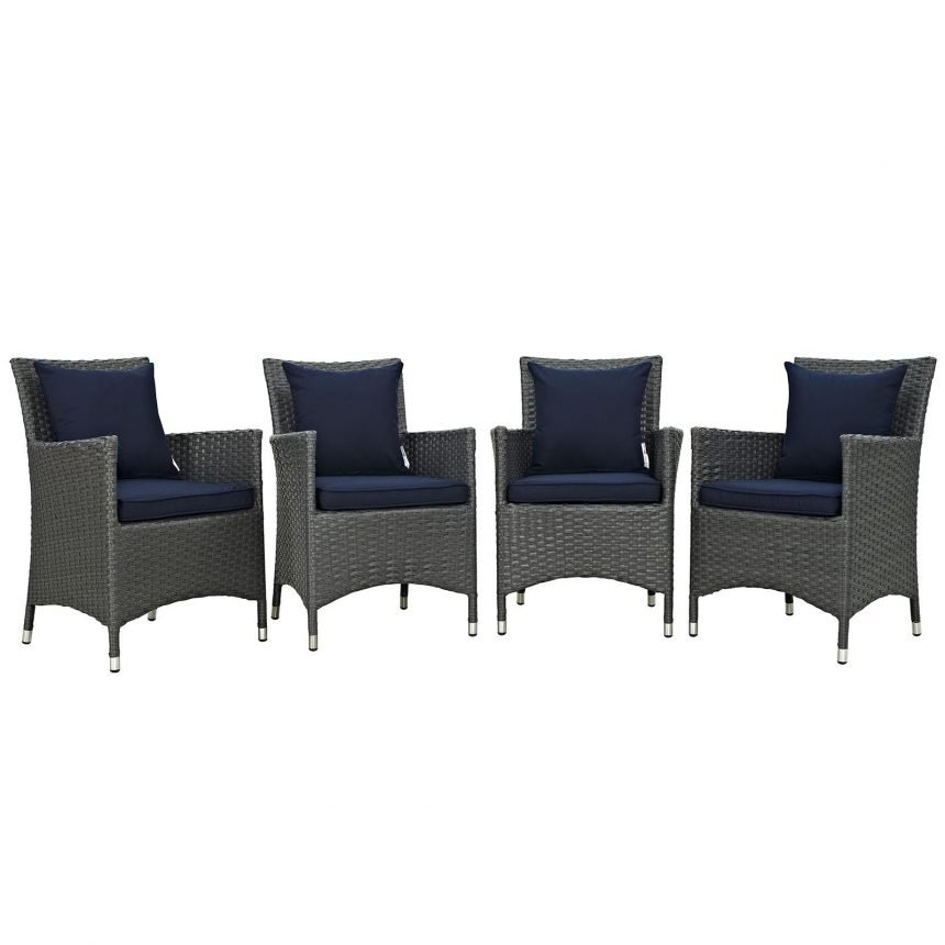 4 Piece Outdoor Patio Sunbrella® Dining Set in Canvas Navy EEI-2243