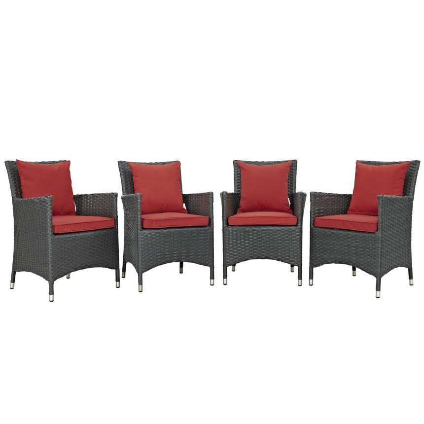 4 Piece Outdoor Patio Sunbrella® Dining Set in Canvas Red EEI-2243