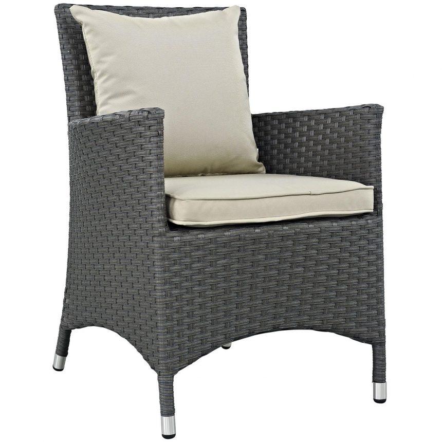 9 Piece Outdoor Patio Sunbrella® Dining Set Armchair Front Side view EEI-2309