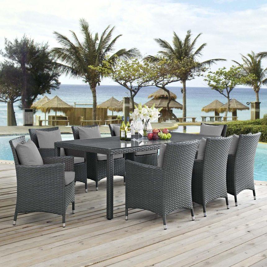 9 Piece Outdoor Patio Sunbrella® Dining Set in Canvas Gray EEI-2309