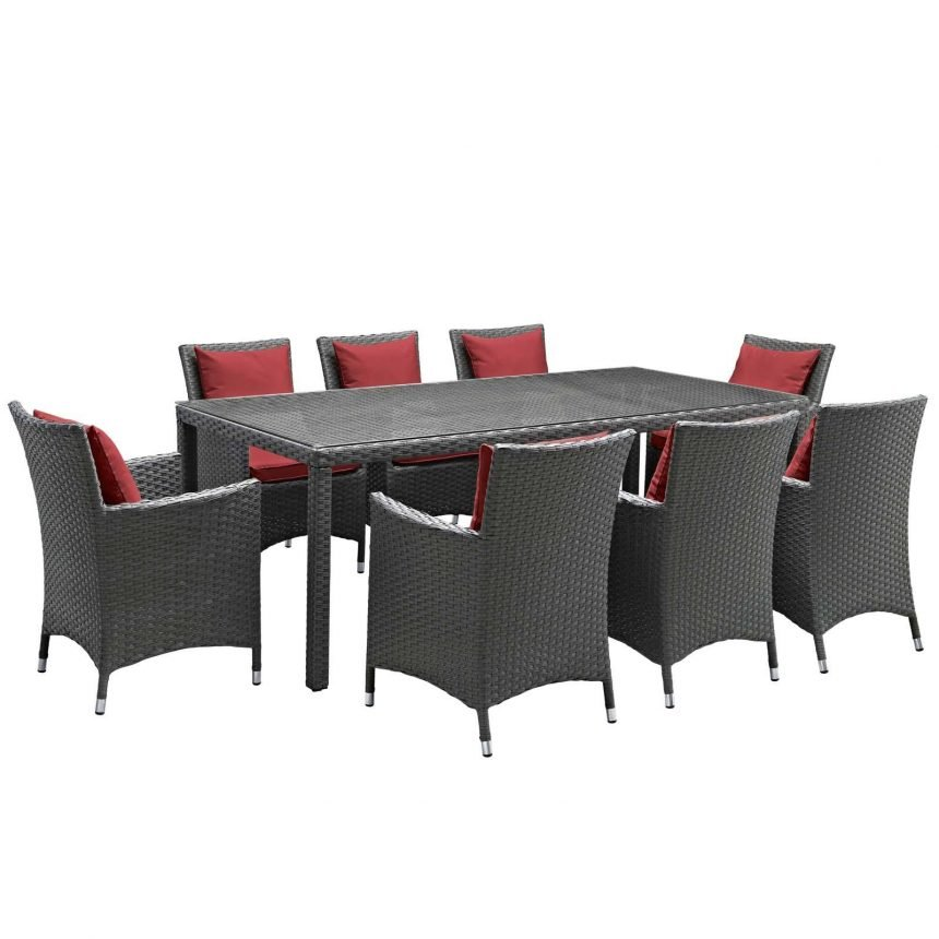 9 Piece Outdoor Patio Sunbrella® Dining Set in Canvas Red EEI-2309