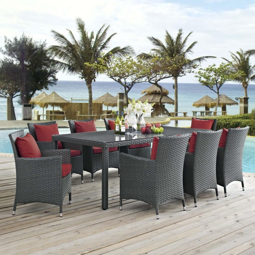 9 Piece Outdoor Patio Sunbrella® Dining Set with Canvas Red cushions EEI-2309