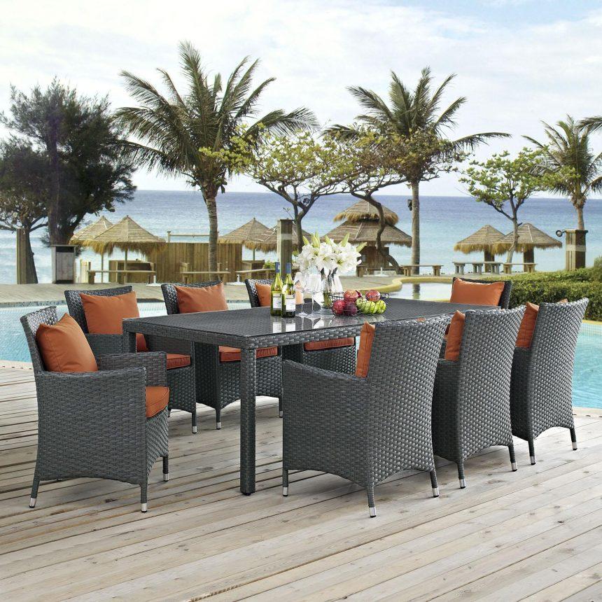 9 Piece Outdoor Patio Sunbrella® Dining Set with Canvas Tuscan Cushions EEI-2309
