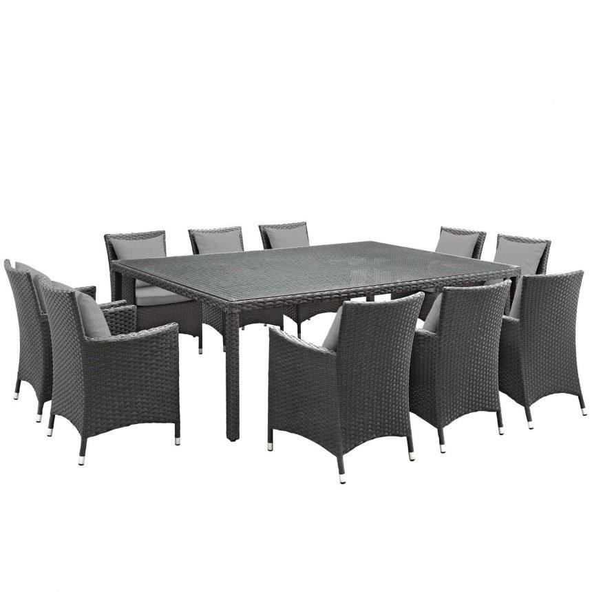 11 Piece Outdoor Patio Sunbrella® Dining Set in Canvas Gray EEI-2311
