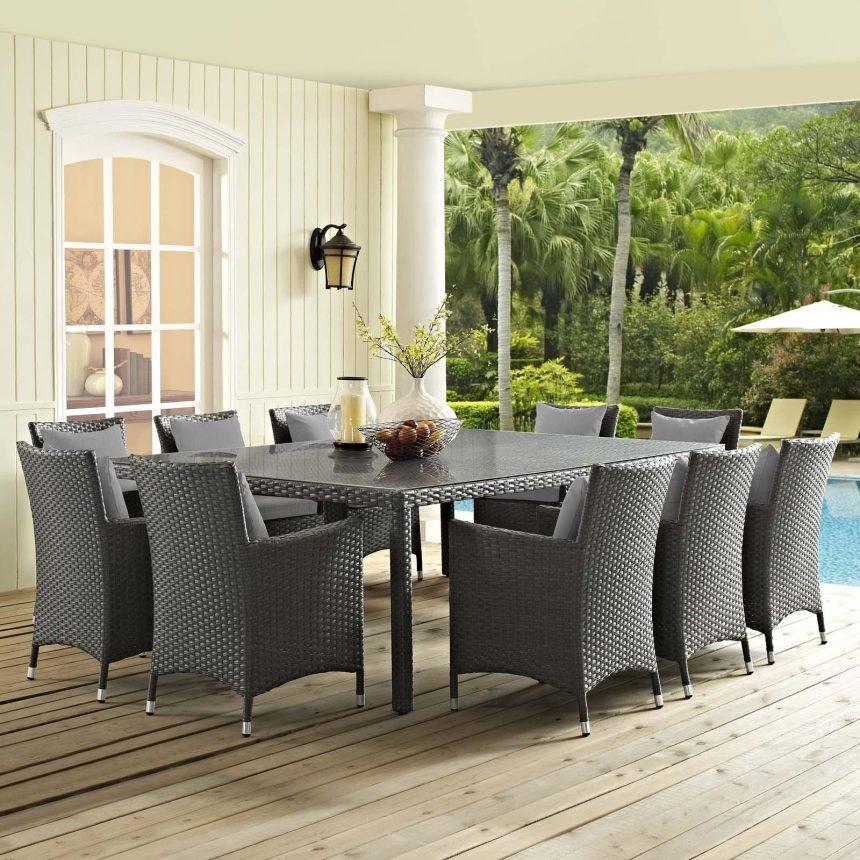 11 Piece Outdoor Patio Sunbrella® Dining Set with Canvas Gray EEI-2311