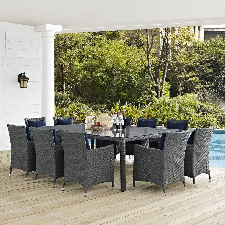 11 Piece Outdoor Patio Sunbrella® Dining Set with Canvas Navy EEI-2311