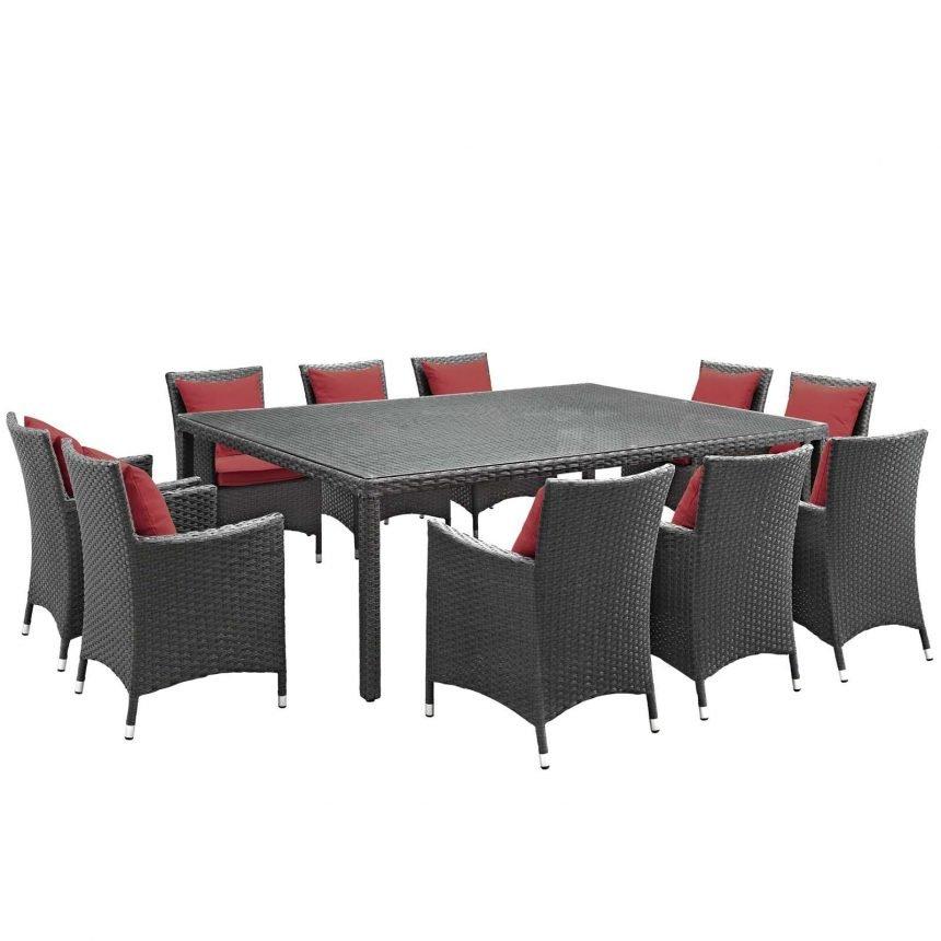11 Piece Outdoor Patio Sunbrella® Dining Set in Canvas Red EEI-2311