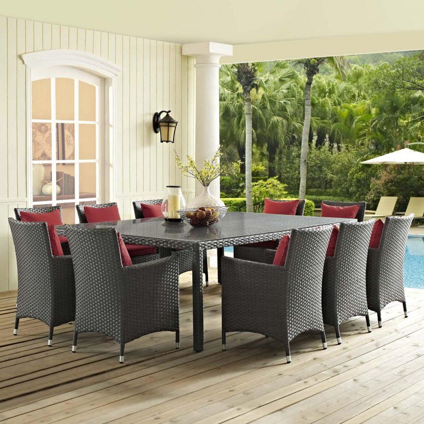 11 Piece Outdoor Patio Sunbrella® Dining Set with Canvas Red EEI-2311