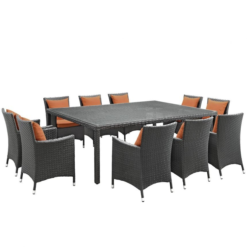 11 Piece Outdoor Patio Sunbrella® Dining Set in Canvas Tuscan EEI-2311