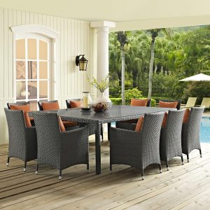 11 Piece Outdoor Patio Sunbrella® Dining Set in Canvas Tuscan EEI-2311