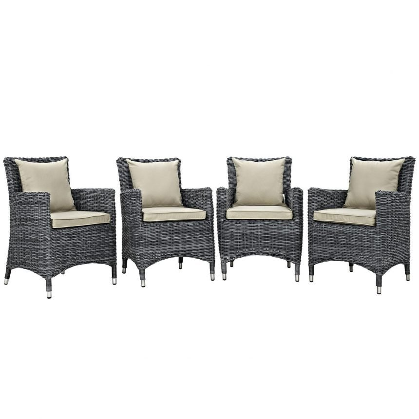 4 Piece Outdoor Patio Sunbrella® Dining Set in Antique Canvas Beige EEI-2314