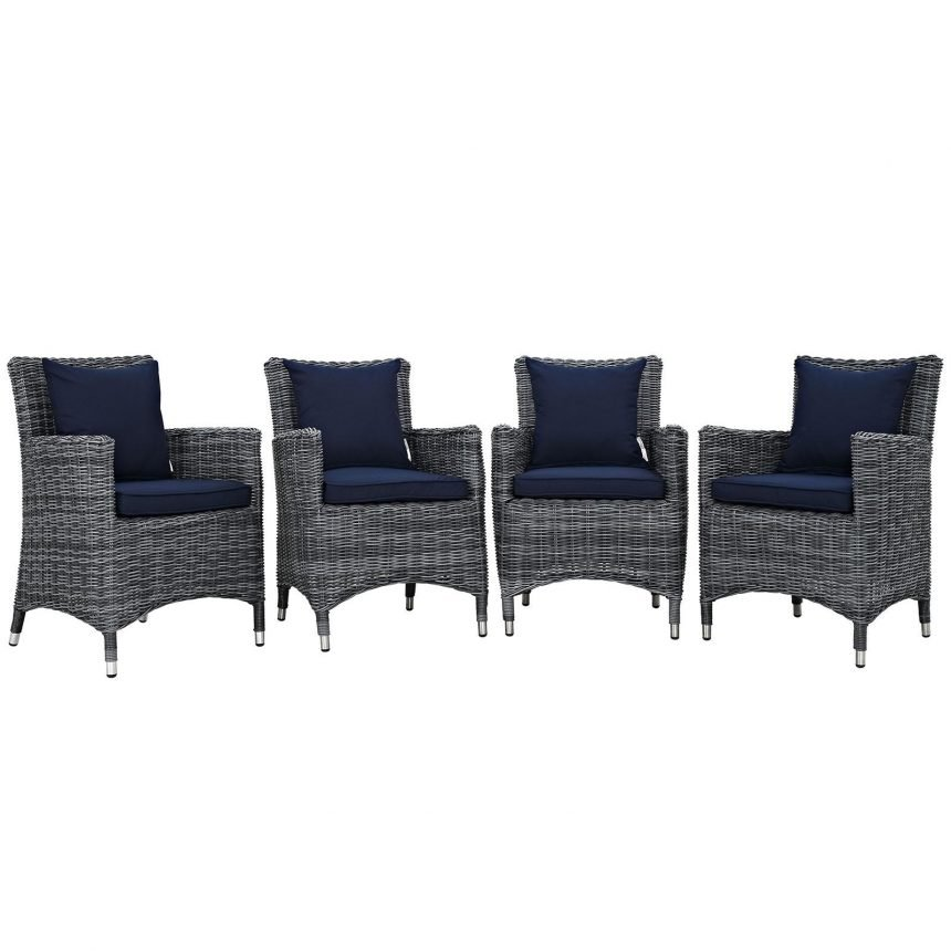 4 Piece Outdoor Patio Sunbrella® Dining Set in Canvas Navy EEI-2314