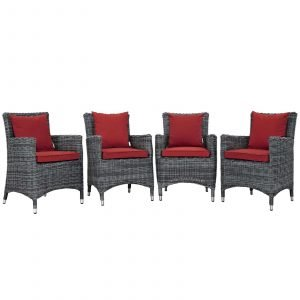 4 Piece Outdoor Patio Sunbrella® Dining Set in Canvas Red EEI-2314