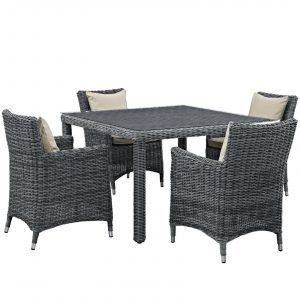 5 Piece Outdoor Patio Sunbrella® Dining Set in Antique Canvas Beige EEI-2316