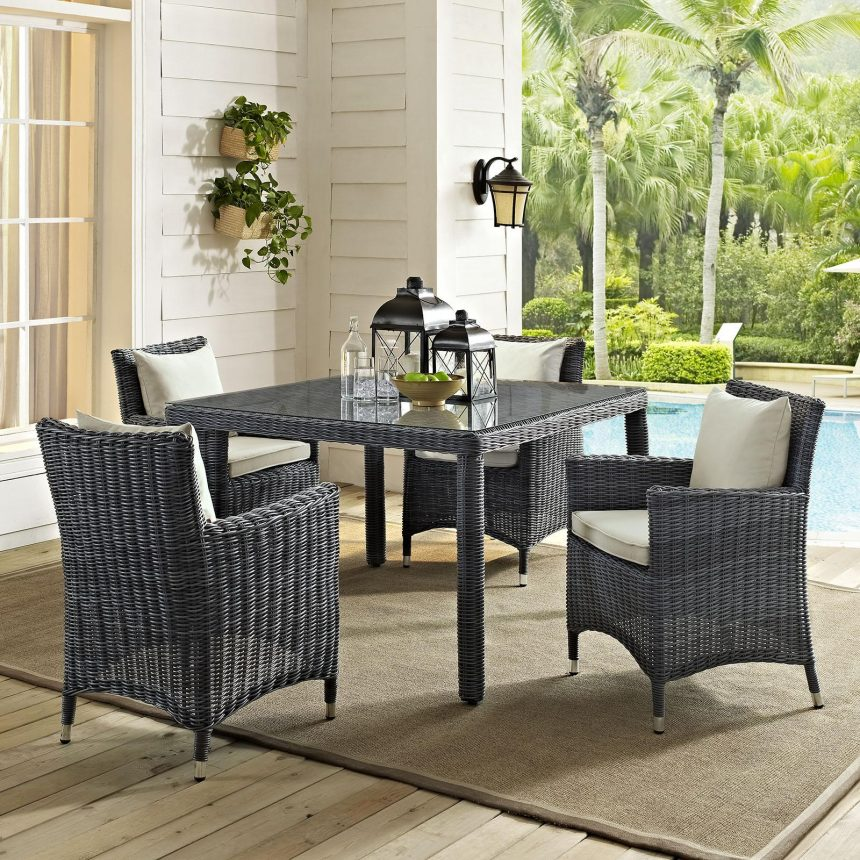 5 Piece Outdoor Patio Sunbrella® Dining Set with Antique Canvas Beige EEI-2316
