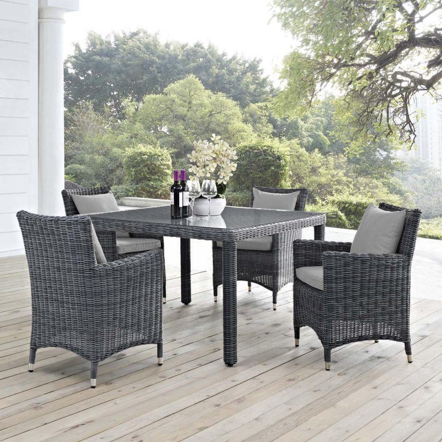 5 Piece Outdoor Patio Sunbrella® Dining Set in Canvas Gray EEI-2316