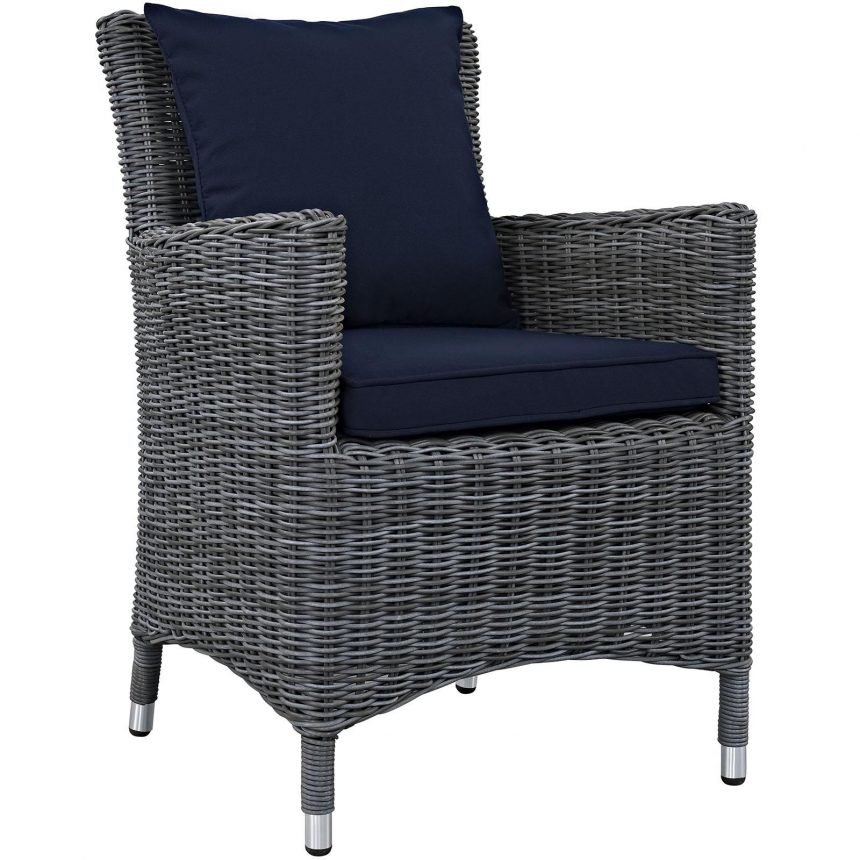 5 Piece Outdoor Patio Sunbrella® Dining Armchair in Canvas Navy EEI-2316