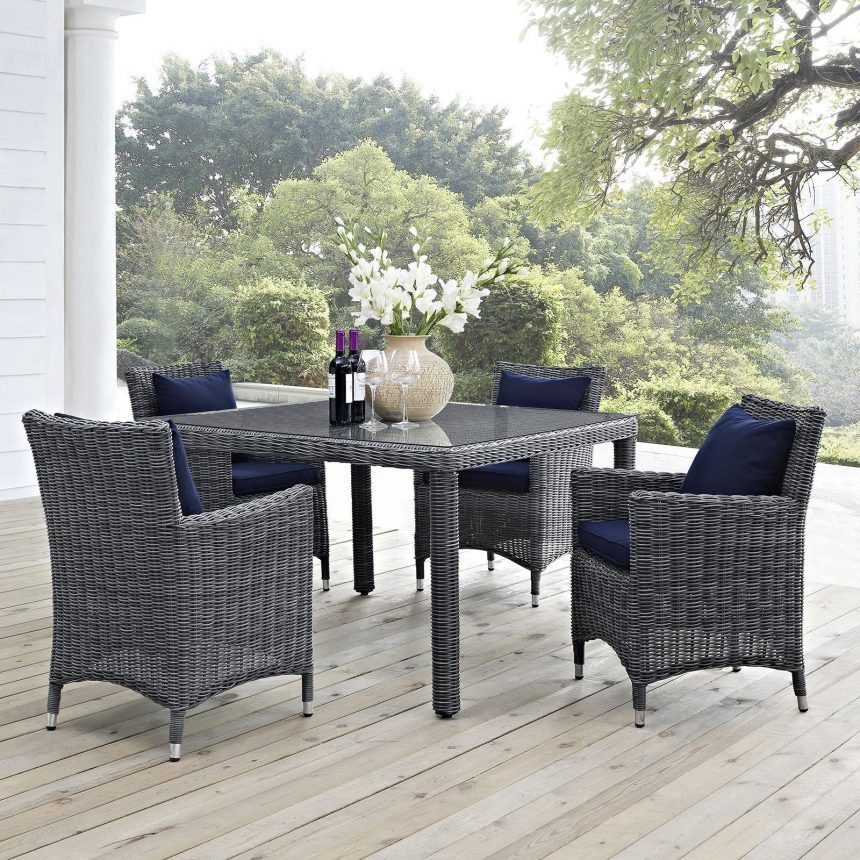 5 Piece Outdoor Patio Sunbrella® Dining Set in Canvas Navy EEI-2316