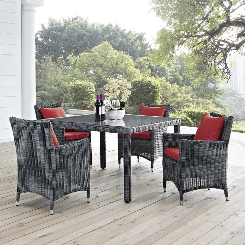 5 Piece Outdoor Patio Sunbrella® Dining Set in Canvas Red EEI-2316
