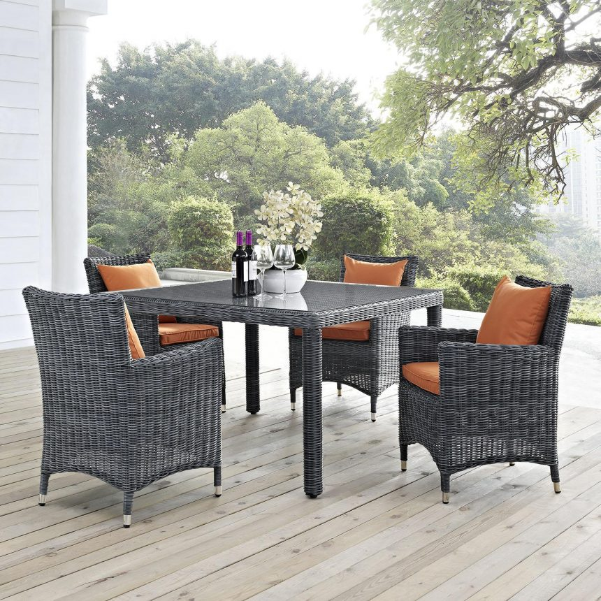 5 Piece Outdoor Patio Sunbrella® Dining Set in Canvas Tuscan EEI-2316