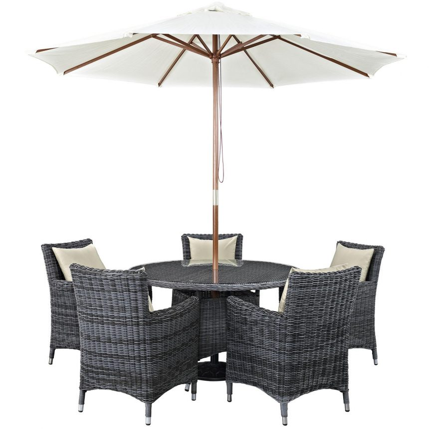 7 Piece Outdoor Patio Sunbrella® Dining Set in Antique Canvas Beige EEI-2328
