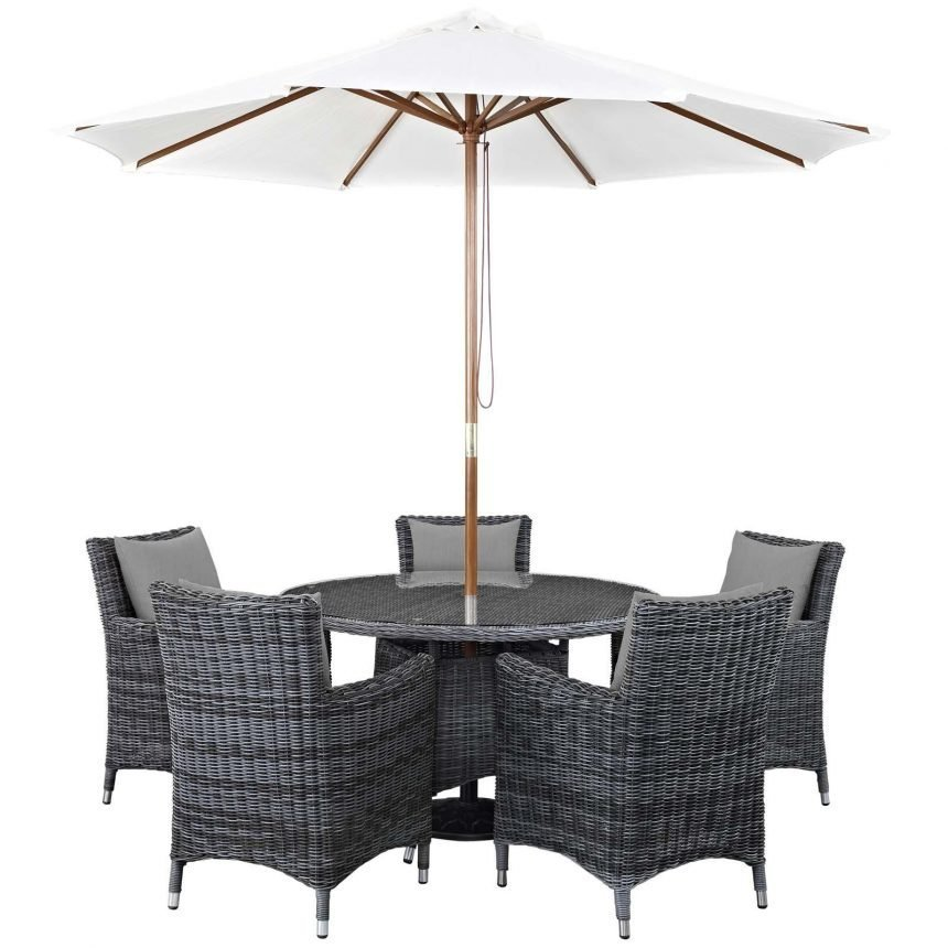 7 Piece Outdoor Patio Sunbrella® Dining Set in Canvas Gray EEI-2328