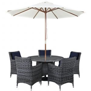 7 Piece Outdoor Patio Sunbrella® Dining Set with Canvas Navy cushions EEI-2328