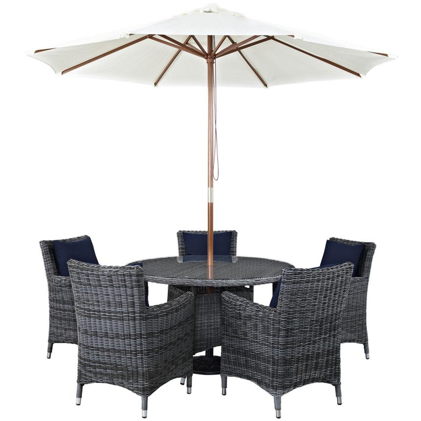 7 Piece Outdoor Patio Sunbrella® Dining Set with Canvas Navy cushions EEI-2328