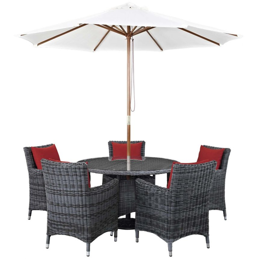 7 Piece Outdoor Patio Sunbrella® Dining Set in Canvas Red cushions EEI-2328
