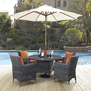 7 Piece Outdoor Patio Sunbrella® Dining Set in Canvas Tuscan cushions EEI-2328