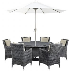 8 Piece Outdoor Patio Sunbrella® Dining Set in Antique Canvas Beige EEI-2329