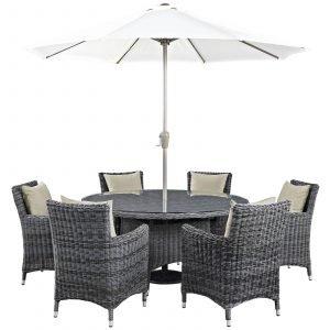8 Piece Outdoor Patio Sunbrella® Dining Set in Antique Canvas Beige EEI-2329